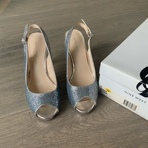 Nine West silver sandals size 8